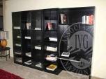 Immagine di Rif 476 ZONA 6 QTA1 Libreria Molteni in legno rovere tinto nero con ante scorrevoli