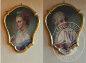 """coppia di dipinti olio su tela raffiguranti """"volti di giovani donne"""""""
