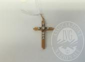 Croce in oro rosso con diamante (ct 0,35)